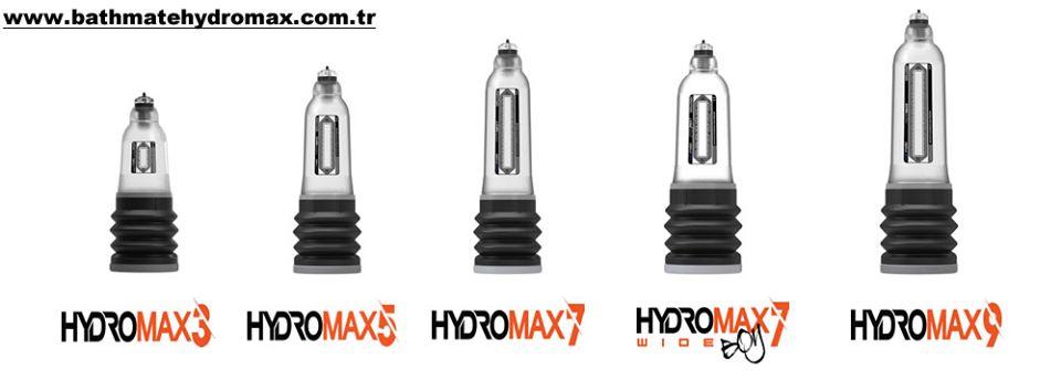 Bathmate Hydromax Series Penis pompası modelleri: Hydromax 3, 5, 7, 7 Wide Boy, 9.